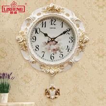 丽盛欧pu挂钟现代静rt钟表创意田园家用客厅装饰壁钟卧室时钟