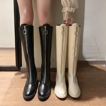 202pu秋冬新式性rt靴女粗跟过膝长靴前拉链高筒网红瘦瘦骑士靴