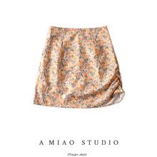 夏装新pu女装(小)众设rt边抽绳高腰半身裙复古碎花包臀裙短裙女