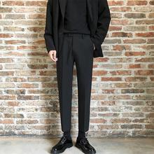 秋季裤pu男坠感(小)西hi男士韩款潮流九分休闲裤百搭港风裤