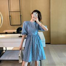 短袖碎pu法式复古甜hi感(小)个子短式桔梗连衣裙2020年夏天新式