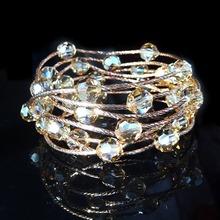 奥地利pu晶手链女韩hi多层圈S925银玫瑰金手串手镯情的节礼物