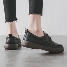 202pu春式(小)皮鞋hi英伦风女鞋圆头系带复古牛筋底软底平底单鞋
