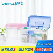茶花塑pu家用药箱家hi多层手提急救药品收纳盒出诊药物医药箱