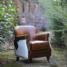75折pu定 巴西头si真皮美式复古单的椅 波茨湾黑白奶牛皮沙发