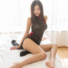 性感服pu旗袍女仆制er蕾丝透明开档激情套装超骚(小)胸