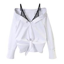 (小)宸 pu丝吊带衬衫kj假两件性感露肩打结宽松条纹衬衫女装衬衣