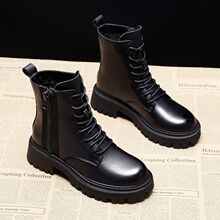 13厚pu马丁靴女英kj020年新式靴子加绒机车网红短靴女春秋单靴