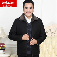 中老年pu冬装外套加kj秋冬季中年男老爸爷爷棉衣老的衣服爸爸