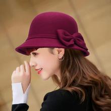春秋帽pu女时尚百搭kj式圆顶蝴蝶结礼帽英伦毛呢盆帽