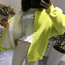 现韩国pu装2020kj式宽松百搭加绒加厚羊羔毛内里保暖卫衣外套