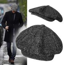 复古帽pu英伦帽报童tc头帽子男士加大 加深八角帽秋冬帽