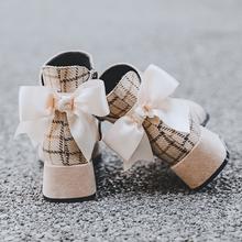 短靴女pu020新式tc靴短筒靴子女夏季网红瘦瘦靴女粗跟马丁靴女
