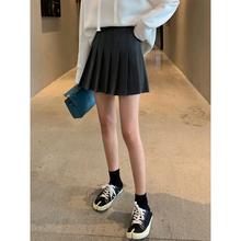 A7spuven百褶tc秋季韩款高腰显瘦黑色A字时尚休闲学生半身裙子