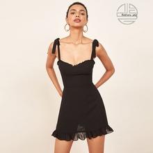 法式复pu黑色显瘦宽bu蝶结肩带连衣裙子(小)众reformaTion短裙