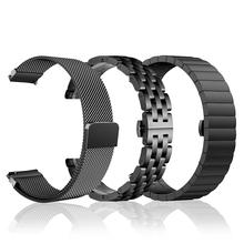 智想 pu为B3表带ng春款运动手环腕带金属米兰尼斯磁吸回扣替换不锈钢链式表带