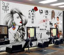 理发店puD墙纸复古ng性时尚发廊沙龙美发店装饰背景墙壁画