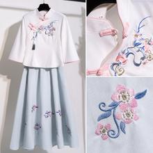 中国风pu古风女装唐ng少女民国风盘扣旗袍上衣改良汉服两件套