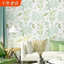 (小)清新pu视背景墙纸ng园风格绿色(小)碎花温馨卧室客厅北欧