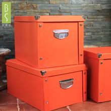 新品纸pu收纳箱可折ng箱纸盒衣服玩具文具车用收纳盒
