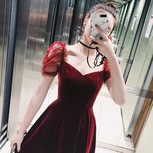 [puqujing]子晴 红色连衣裙女202