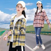 初中学pu格子衬衫外ng袖上衣高中生2020秋季新式少女宽松韩款