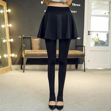 秋冬季pu两件打底裤ng加绒加厚式踩脚外穿薄式套连带裤袜裙子