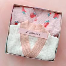 新生儿pu盒婴儿衣服ma夏男女宝纯棉纱睡衣汉和尚服套装满月礼