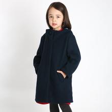 雅童(小)pu 藏青色女pl呢连帽大衣冬季宝宝厚外套