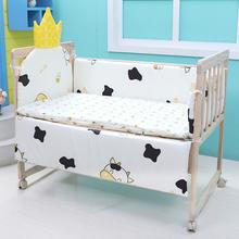 婴儿床pu接大床实木su篮新生儿(小)床可折叠移动多功能bb宝宝床