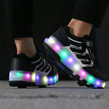 201pu暴走鞋男童su动隐形按钮女童爆走鞋轮滑运动鞋带轮子的鞋