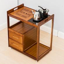 大号竹pu桌家用茶盘ou茶台茶具套装客厅茶水柜移动茶车餐边柜