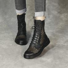 清轩2pu21新凉靴ou马丁靴女中筒靴平底欧美机车女靴短靴单靴潮
