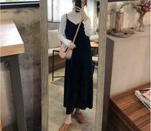 [puyichun]吊带连衣裙长裙开叉丝绒2