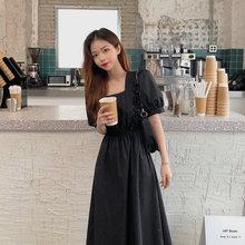 夏新式pu古灯笼袖收un气质赫本韩款纯棉很仙的黑色中长连衣裙