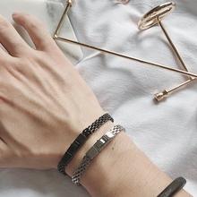 极简冷pu风百搭简单un手链设计感时尚个性调节男女生搭配手链