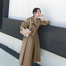 【反季pu价】风衣女an(小)个子初秋外套女韩款薄式卡其色大衣