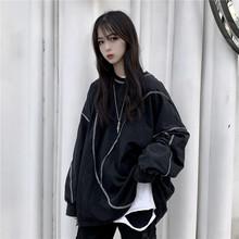 暗黑系pu装2020an式上衣女装宽松个性嘻哈百搭T恤卫衣女潮