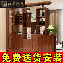 实木客pu玄关柜中式an米双面间厅柜进门隔断门厅柜 酒柜鞋柜组合
