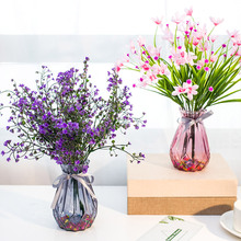 仿真玫瑰花pu2塑料假花uo厅摆设餐桌茶几摆件装饰花盆栽