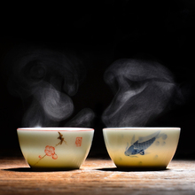 手绘陶pu功夫茶杯主uo品茗单杯(小)杯子景德镇青花瓷永利汇茶具