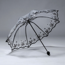 透明女pv叠加厚inxx三折(小)清新白色塑料的全自动开网红伞