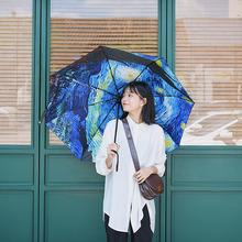 梵高油pw晴雨伞黑胶ga紫外线晴雨两用太阳伞女户外三折遮阳伞