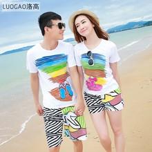 海边沙滩qlzpx4侣装夏装1y2020式创意韩国休闲上衣速干裤套装