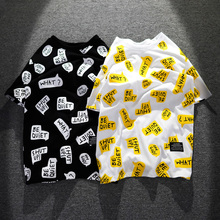 欧美潮px街头个性涂1y满身印花半袖嘻哈宽松纯棉男生短袖T恤