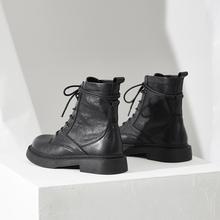 内增高px丁靴女英伦bw20年秋冬季新式百搭真皮(小)短靴加绒潮ins