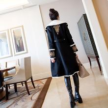 气质名px毛呢外套女bw1新式秋冬加厚黑色中长式赫本风女士大衣潮