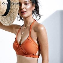 OcepxnMystxw沙滩两件套性感(小)胸聚拢泳衣女三点式分体泳装