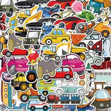 40张py通汽车挖掘ji工具涂鸦创意电动车贴画宝宝车平衡车贴纸