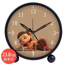 可爱创py宝宝学生专yg卡通金属简约床头静音夜光懒的电子时钟